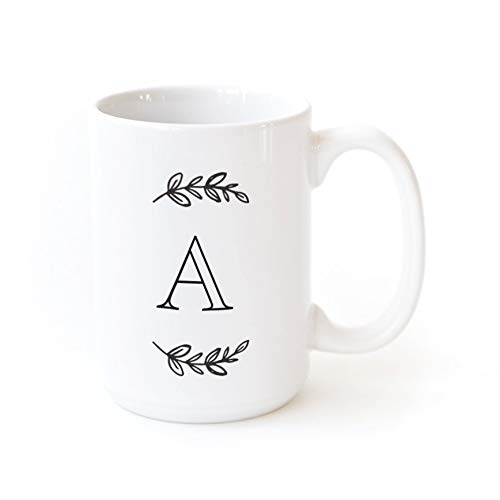 The Cotton & Canvas Co. Manhattan Wreath Personalized Monogram Coffee Mug Porcelain Ceramic Coffee Mug. Gift for Her, Gift for Him