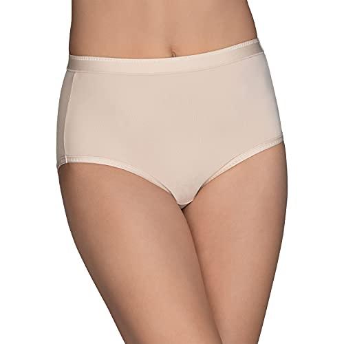 Vanity Fair Women's Comfort Where It Counts No Ride Up Panties, Brief-Damask Neutral, 8