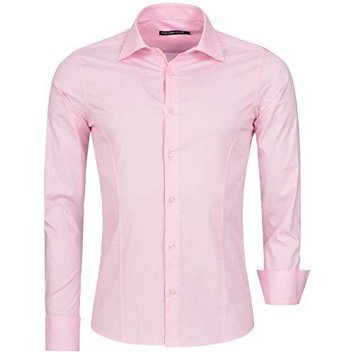 Redbridge Herren Hemd Slim Fit Business Hochzeit Freizeithemd Langarm Bügelleicht R-2111 (XL, Rosa (Pink))