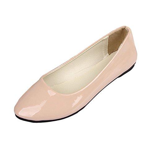Minetom Mujer Elegante Pu Cuero Plano Zapatos Verano Primavera Otoño Casual Zapatos De Baile Beige 39