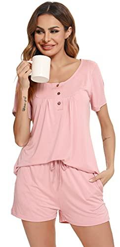 Vlazom Pijama Mujer Verano Pijama Corto Mujer Super Cómoda y Suave, Ropa de Dormir Transpirable + Pantalón Corto S-XXL