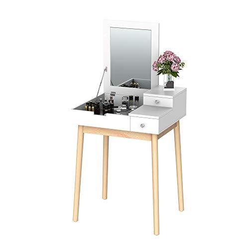 HOMCOM Schminktisch Frisiertisch Kosmetiktisch mit aufklappbarem Spiegel Holzfüße Weiß+Natur 60 x 50 x 85,5cm