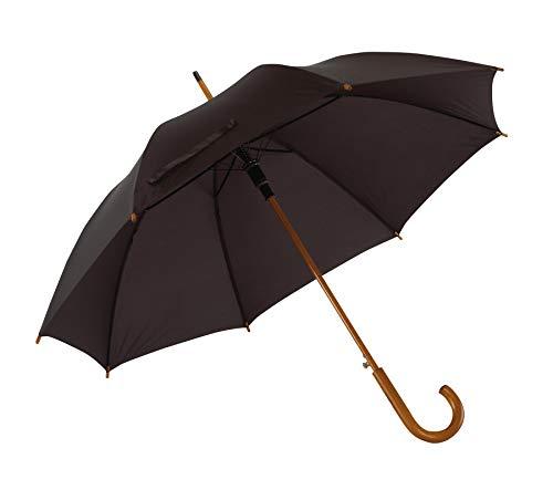 Automatik Regenschirm Holzschirm Stockschirm Portierschirm mit gebogenem Rundhaken Holzgriff in 103 cm Durchmesser von notrash2003 (Schwarz)