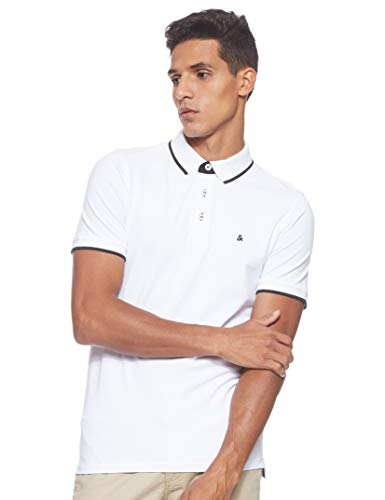 JACK & JONES Herren Jjepaulos Polo Ss Noos Poloshirt, Weiß (White Detail: Slim Fit), M
