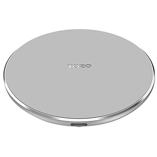TOZO W3 Mini Cargador inalámbrico Thinnest Fast Charging Pad con Aviation Aluminium CNC Unibody Sleep-Friendly Gris(SIN Adaptador de CA)