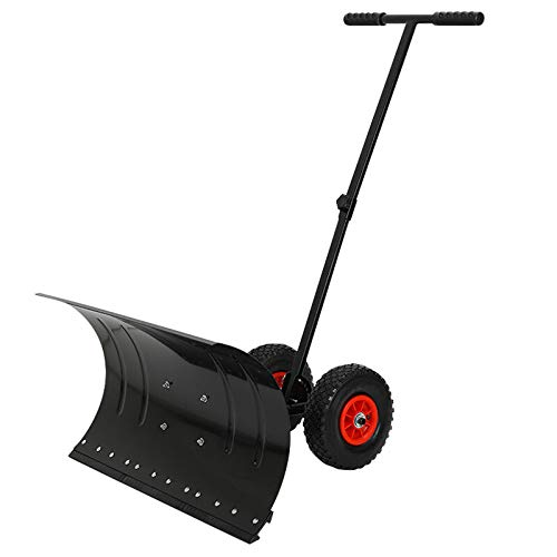 QILIN Hand-Push Snow Shovel, Outdoor Snow Plow, Wheeled Snow Pusher, Shovel Snow and Snow Removal Tool, Large Snow Shovel 74×42CM