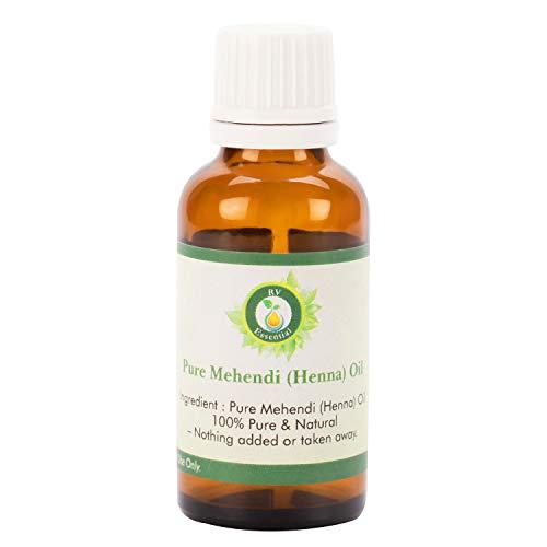 R V Essential Huile de Mehendi (henné) pur 5ml (0.169oz) - (100% pur et naturel) Pure Mehendi (Henna) Oil