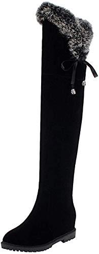 Bigtree Damen Stiefel Über das Knie Lace Zurück Gefüttert Flandell Klassisch Oberschenkel hoch Flach Winter Wildleder Reitstiefel Schwarz 40 EU