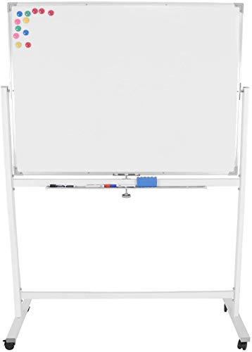 Jago® Whiteboard Magnetisch - 110x75cm oder 120x60cm / inkl: 12 Magnete, 3 Marker und Schwamm, Mobil, Alurahmen, Weiß - Magnettafel, Magnetwand, Magnetboard, Stativdrehtafel