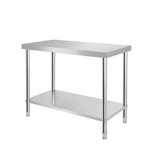 SAILUN® Mesa de trabajo de acero inoxidable con estante inferior extragrande (100 x 60 x 85 cm)