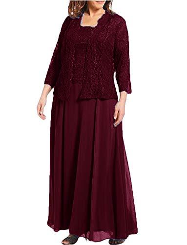 Women's 3 Pieces Mother of The Bride Dresses Suit Set for Wedding Party 2019 Lace Jacket Plus Size Burgundy (Apparel)