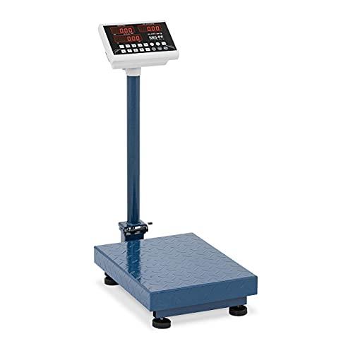 Steinberg Balance Plateforme Professionnelle Pèse-colis SBS-PF-100A8 (100 kg/10g, plate-forme 40x30cm, repliable, pieds réglables en hauteur, batterie et câble d'alimentation, LED)