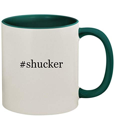 #shucker - 11oz Ceramic Colored Handle and Inside Coffee Mug Cup, Green