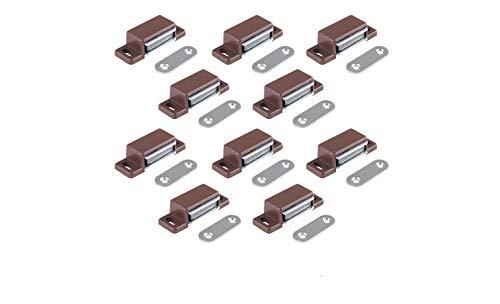 LouMaxx Loqueteau magnétique puissant – force de maintien 4kg – lot de 10 - brun – aimant porte – loqueteau aimant – aimant placard – aimant porte de placard