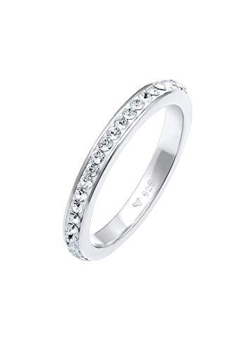 Elli Anillos Elegante anillo para mujer con cristales de Swarovski® de plata esterlina 925 bañada en oro