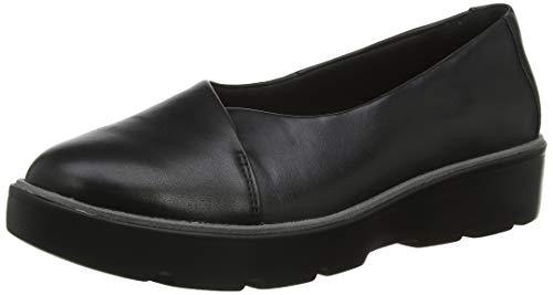 Clarks Un Balsa Go, Mocasines para Mujer, Negro (Black Leather Black Leather), 38 EU