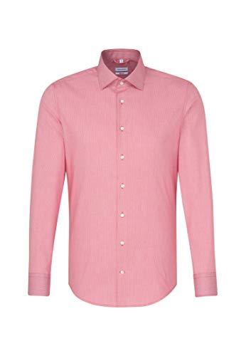 Seidensticker Camisa de negocios para hombre de manga larga, cuello Kent, no necesita planchado rojo 47