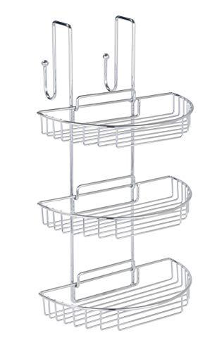 WENKO 3318810100 badkamerrek om op te hangen - 3 afneembare planken, 2 haken, staal, 29 x 51 x 27 cm, chroom