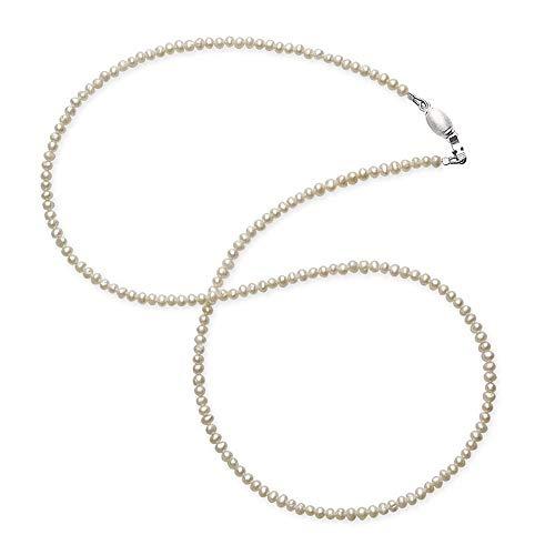 Drachenfels Mini Perlenkette in Echtsilber mit Tonnenschloss | Süßwasserperlenkette für Anhänger | Halskette für Damen | Länge 42 cm | D KSW 52/AG