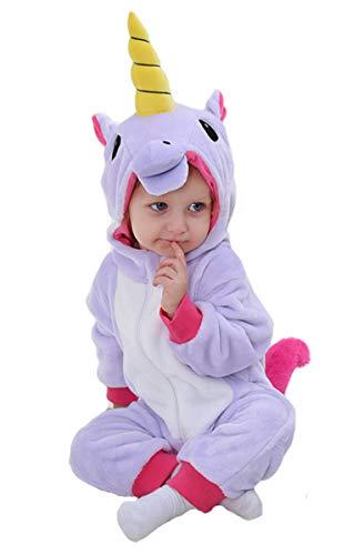Doladola Babymädchens Strampler Animal Hooded Onesie (Lila Einhorn, Größe 110 Alter 24-30 Monate)