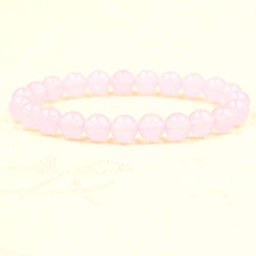 QYAQ Stone Bracelet For Women,7Chakra Natural Crystal Stone Beads Bracelet Elasticity Light Pink Bracelet Fashion Boho Yoga Lady Jewelry Gift Girlfriend Mom Couple Gifts