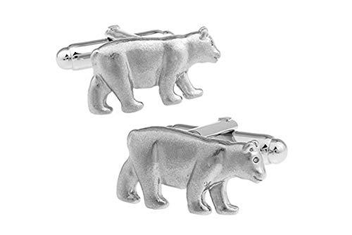 Boutons de manchette Polar Bear dans une boîte de présentation de luxe gratuite. Bijoux fantaisie thème animal