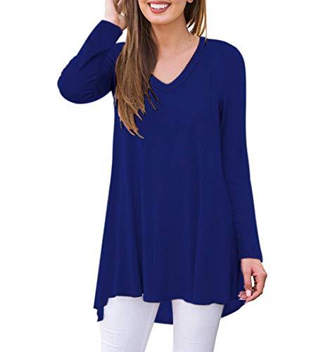 AUSELILY T-Shirt col V à Manches Longues pour Femmes Tunique Tops Chemisier Chemisier(EU 40-42,Bleu Royal)