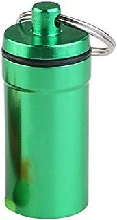 حامل مفاتيح اخضر من الالومنيوم المقاوم للماء على شكل علبة حبوب، سلسلة مفاتيح مزودة بعلبة على شكل زجاجة، حلقة مفاتيح مزودة ...
