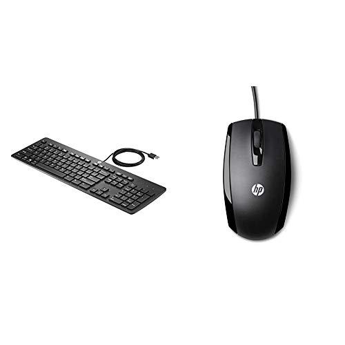 HP USB Business Slim Keyboard (DE) & X500 (E5E76AA) Optische Maus mit Kabel (3 Tasten, Scroll-Rad mit Klickfunktion, USB-Anschluss) schwarz