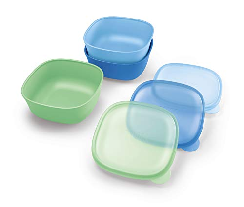 NUK Stacking Bowl and Lid, Assorted Colors, 3 Pack, 4+ Months
