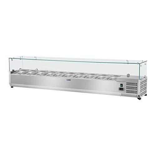 Royal Catering Vitrina refrigerada RCKV-200/33-10 (200 x 33 cm, 70 L, para 10 x GN 1/4, 2-10 °C, 125 W, R600a, Termostato, Cubierta de cristal, Función descongelado)