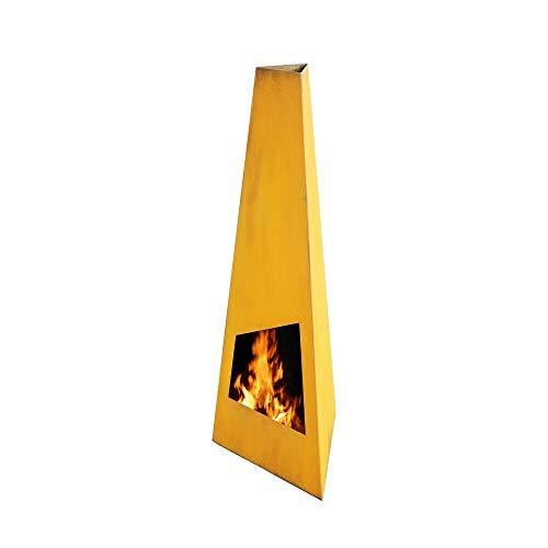 Ben&Camilla Gartenkamin Nevados in Edelrost Optik Cortenstahl XL 150 x 48 x 42 cm | extra robust | Feuerschale Feuerkorb Terrassenofen Gartenofen Feuerstelle Feuersäule Feuerskulptur