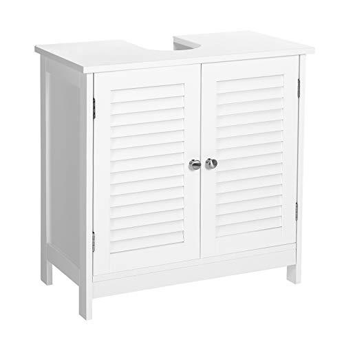 VASAGLE Waschbeckenunterschrank, Badezimmerschrank, Aufbewahrungsschrank, 60 x 30 x 60 cm, mit 2 Lamellentüren, verstellbare Regalebene, mit Griffen, skandinavischer Stil, mattweiß BBC05WT