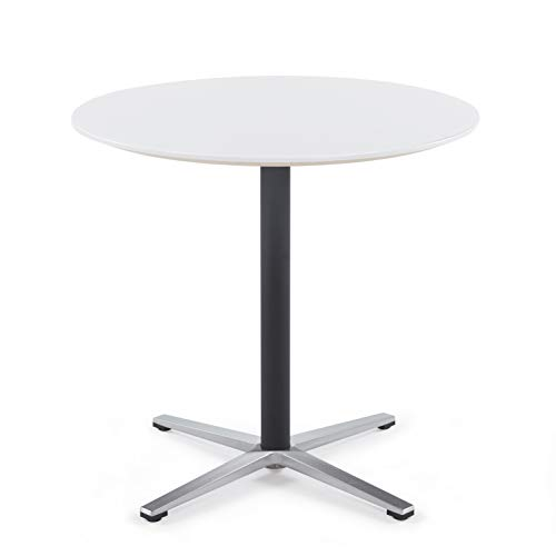 Sunon Round Bistro Table Small Round Table with X-Style Pedestal for Pub Table/Cafe Table/Office Table/Cocktail Table (Moon White,30-Inch Height)