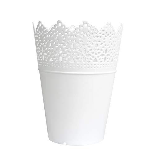 Laat Pot pour plantes, fleurs, nourriture, décoration, rangement de bureau, pot à stylos, pot à brosses ou à maquillage - Blanc