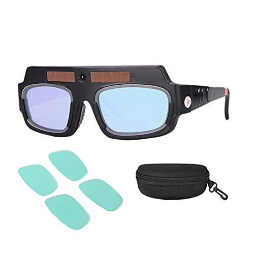 Mascarilla de soldadura automática con energía solar Darking Helmet Goggles Soldador Lentes anti-shock Arc con estuche de almacenamiento (Color : Black)