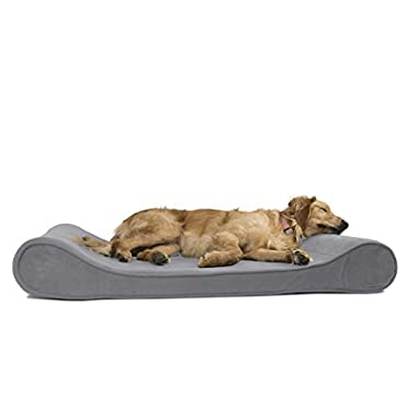 FurHaven Orthopedic Microvelvet Luxe Lounger Pet Bed for Dogs and Cats, Gray, Jumbo