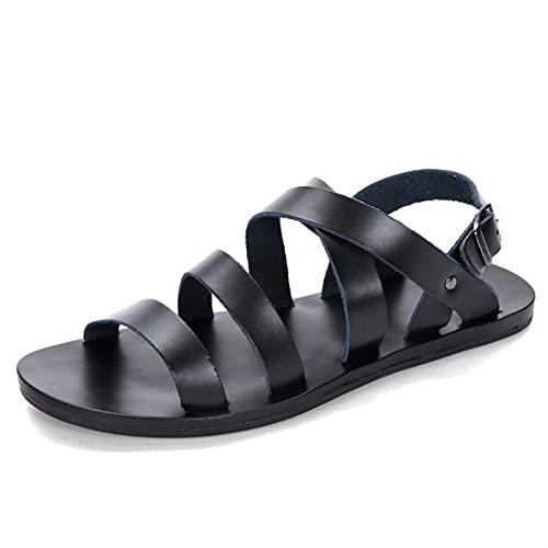 ZHANGNING Herren Sandalen Sommer Sandalen Herren Casual Leicht Wasserwaage Schuhe Knöchelriemen Verstellbare Schnalle Leder Perforierte Sandalen Sport Sandalen (Farbe: Schwarz, Größe: 44 EU)