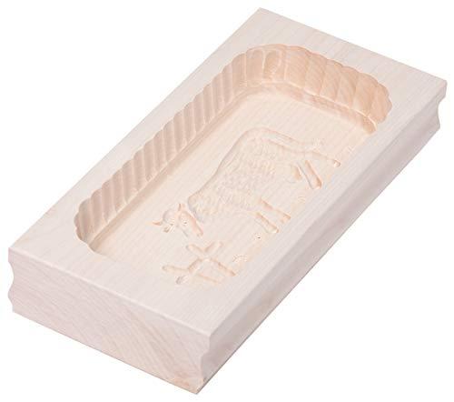 HOFMEISTER® Butterform aus Ahorn-Holz, für 500 g Butter, Motiv: Kuh, handgefertigtes Buttermodel zum Verzieren und Dekorieren zu Tisch, rechteckiger Butterstempel produziert in Deutschland, hygienische Buttersturzform in der Größe 25 x 2 x 4,5 cm (1 Stück)