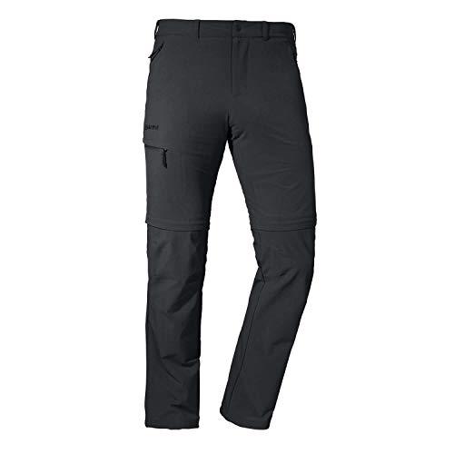 Schöffel Pantaloni da Uomo Koper1 Zip off Flessibili e Comodi da Uomo con Funzione Zip-off, ad Asciugatura Rapida e rinfrescante, in Tessuto Elasticizzato a 4 Vie, Uomo, 22854, Nero, 54