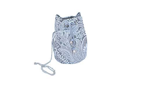 Bolso Bombonera de tela fallera valenciana gris con estampado en plata.