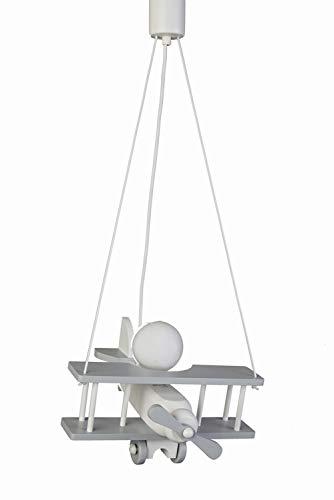 Waldi - Lampe suspension - Motif avion - Coloris gris/blanc - E27 - Pour chambre d'enfant