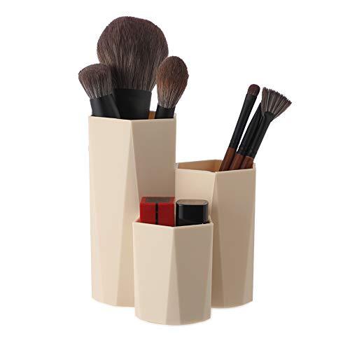Lovingmona Porte-pinceaux de maquillage multifonction - Organiseur de bureau - Forme Hexagonale kaki