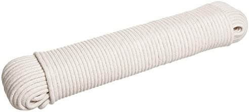 HLLbuy Solid Cotton Rope Clothesline Cotton Rope 1 6 and 1 4 by 50ft and 100ft All Purpose for product image
