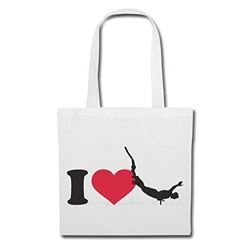 Tasche Umhängetasche I Love Bungee Jumping - BUNGEESPRUNG - Bungee Seil - Bungee GUTSCHEIN - Bungee Springer Einkaufstasche Schulbeutel Turnbeutel in Weiß
