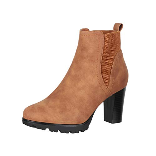 Elara Damen Stiefelette Ankle Boots Chunkyrayan KL0612 Camel-39