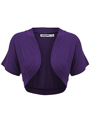 WSK1785 Womens Short Sleeve Shrug Open Cardigan M Dark_Purple by