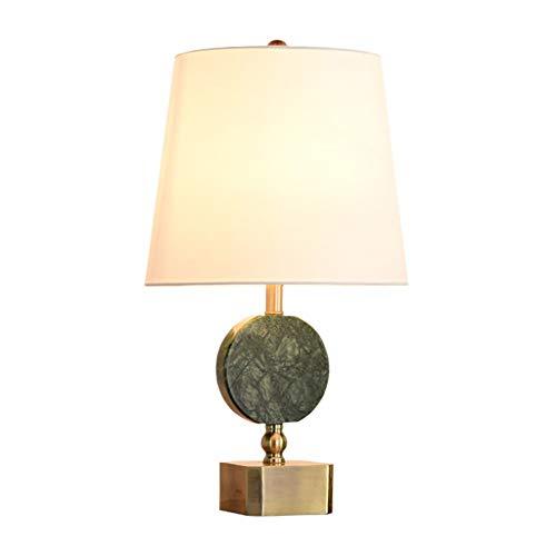 Lámpara de mesa Led Lámpara de mesa moderna decorativa Columna de latón de mármol verde oscuro Sombra de tambor de PVC beige for sala de estar Dormitorio familiar Mesita de noche Lámpara de noche Luz