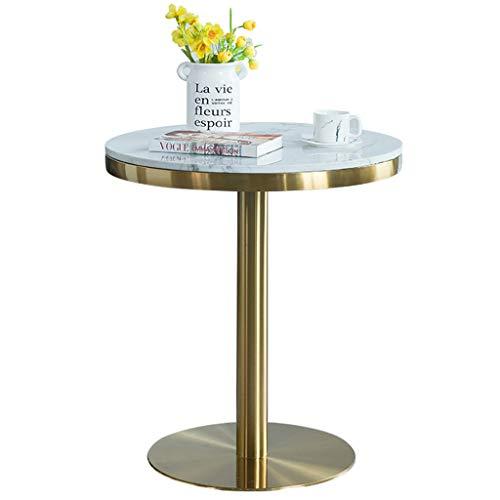 YLMF Weißer Konferenztisch, Marmor-Couchtisch, Glatte Kanten, Edelstahlrahmen und Stabiler Sockel, für Büros, Besprechungsraum, Größe 60 x 60 x...