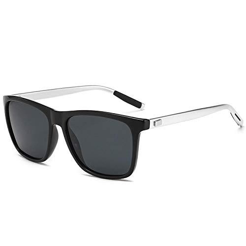WQZYY&ASDCD Gafas de Sol Gafas De Sol Polarizadas De Aluminio con Montura De Magnesio A La Moda para Hombre Uv400, Gafas De Sol con Rayos Vintage para Conducir, Gafas De Sol para Hombre-Black_Silver